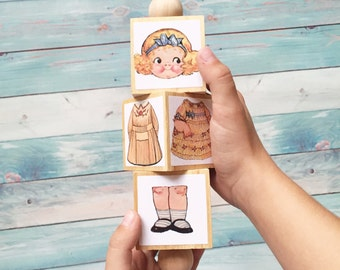 Large wooden Dolly Twist mix and match toy