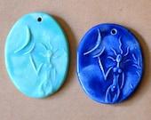 2 Handmade Ceramic Beads - Moon Goddess Venus Beads - Handmade Clay Pendants - Blessingway Gift - Handmade Focal