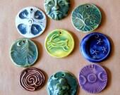 9 Handmade Ceramic Beads - Assortment of Celtic Designs - Variety of Festival Pendants.