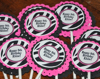 Zebra Cupcake Toppers. Set of 12. Bright Pink. Black. Zebra. Personalized