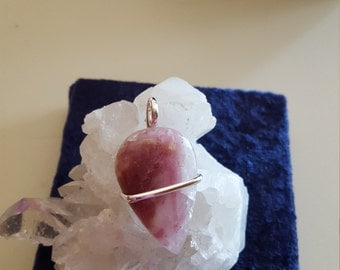 Sterling Pink Tourmaline in Quartz Pendant