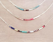 Minimalist Delicate Silver Double Necklace with Tiny Beads // Thin Layering Boho Necklace // Colorful & Simple Necklace