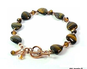 Ladies Tigers Eye Bracelet with Hearts Chakra Jewelry  - B2015-08