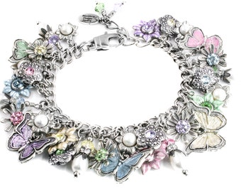 Butterfly Bracelet with flower charms in Pastel colors with fresh water pearls handcrafted in stainless steel