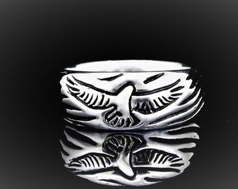 Soaring Ring, sterling silver ring, Hawk, Eagle