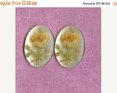 Christmas in July Sale - Cabochons - Vintage 25x18mm Acrylic Flower Cabs (B1-2)