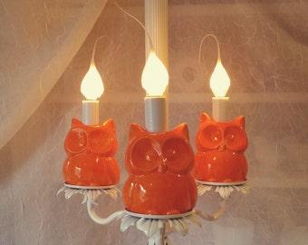 Owl Chandelier Orange Home Decor In Stock Lighting Children's room Kitchen Nursery Decor