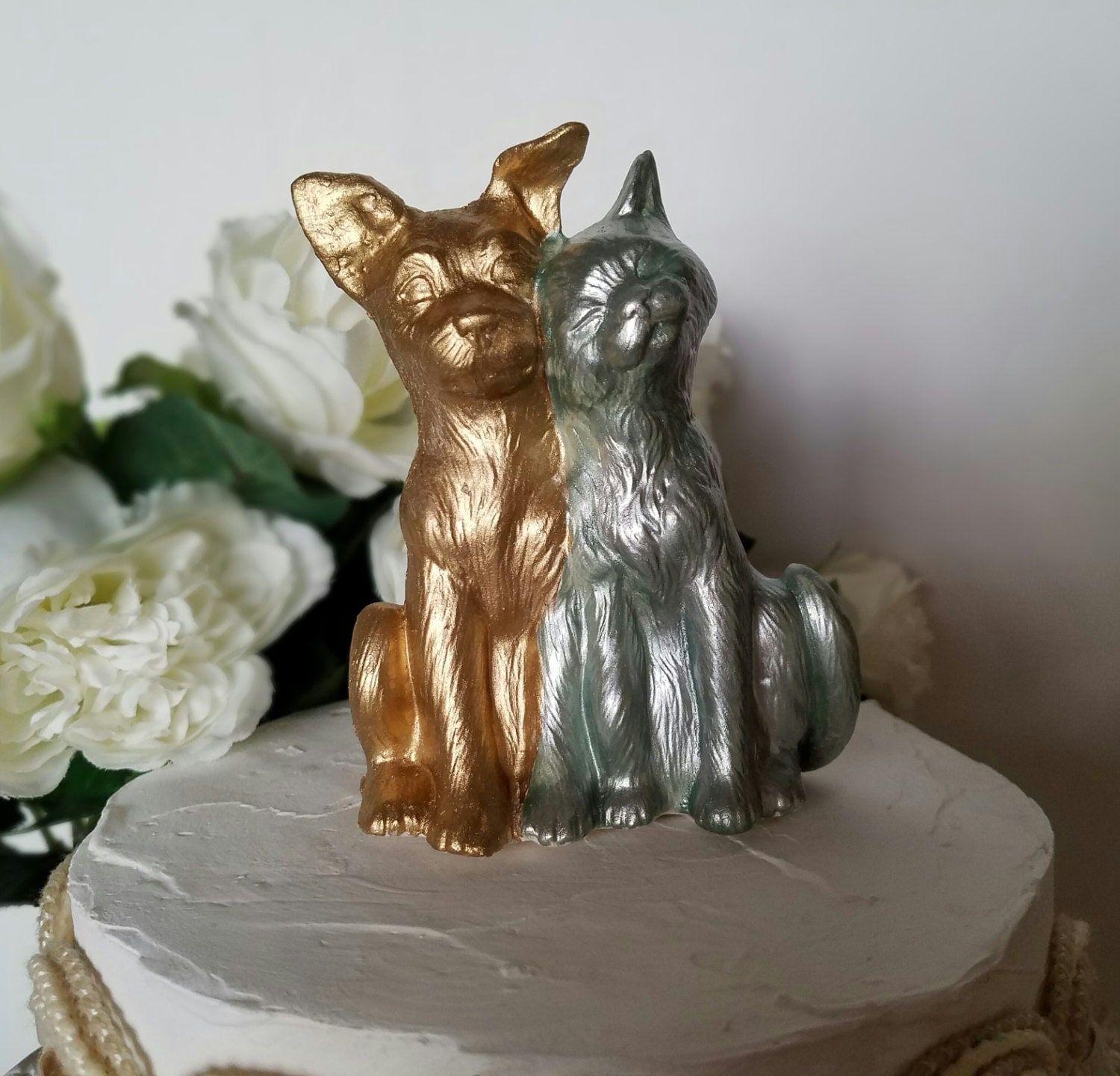 Dog and Cat Wedding Cake Topper Gold Love Animals Gold Home
