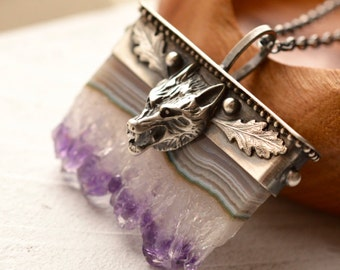 Unique Wolf Necklace, Amethyst Slice Pendant, Boho Style Metalwork, Silver and Stone, Boho Chic Jewelry