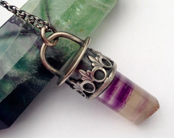 Silver Fluorite Point Pendant with Sterling Silver Detail, Unique Metalwork Necklace in a Modern Bohemian Style, One of a Kind Art Jewelry