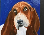Basset Hound on Dark Blue  Daily Painting Original Oil Painting