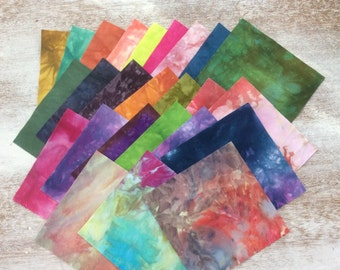 "Hand Dyed FABRIC Assortment 5"" squares - Tuscan Rose - lot A"