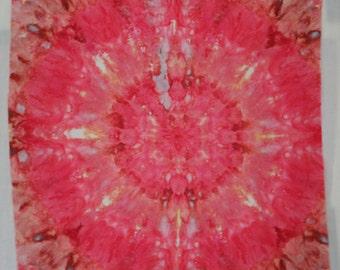 Mandala - Pink  - 1 yard HAND DYED FABRIC - Tuscan Rose Modern Shibori Cotton - TR112