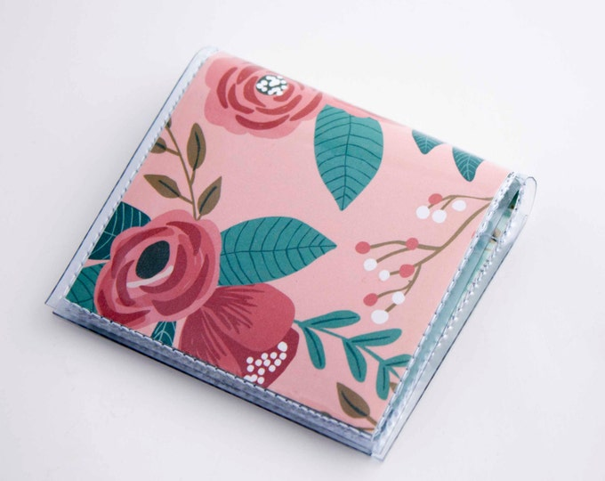 Handmade Vinyl Moo Square Card Holder - Botanical Pink / case, vinyl, snap, wallet, paper, mini card case, moo case, square, floral, blue