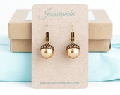 Cyber Monday - Cyber Monday Sale - Pearl Nature Earrings, Acorn Earrings, Gold Dangle Earrings, Botanical Jewelry, Woodland Wedding Earrings