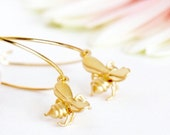 Gold Hoop Earrings - Bee Earrings - Hypoallergenic Earrings - Gold Honey Bee Charms - Summer Fashion - Gift For Girlfriend - Gift For Mom