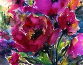 "Pink Flower Painting, Large Watercolor Art, Flowers, Large Giclee Print, Poppy, Poppies, ""Jubilation"" Original Kathy Morton Stanion  EBSQ"