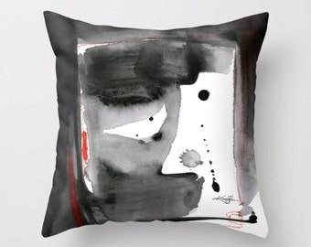 "Gray Abstract Pillow, red, black Abstract painting, Art, ""Expressions No. 1"" Original Painting by Kathy Morton Stanion  EBSQ"