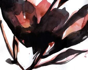 "Flower painting, Abstract Floral Art, Black Salmon, Orange, Minimalist, Original Painting ""Bloom Dance No.6"" by Kathy Morton Stanion EBSQ"