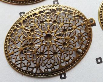 Antiqued Bronze filigre Oval Stamp Link Connectors (5)