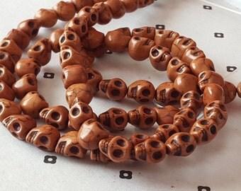 Brown Howlite Skull Beads full strand (40  beads)