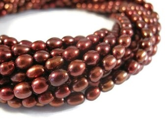 HOT SALE - Natural Freshwater Pearl Beads, Copper-Red Rice Pearls, 4.5-5mm,16 Inch Strand, Jewelry Supplies (P-R6)