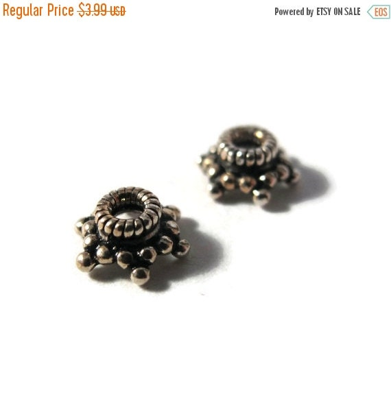 Labor Day SALE - Two Bead Caps, 2 Sterling Silver Bead Caps for Making Jewelry, Spacer Beads for Bracelets, Earrings (H-TK250020)