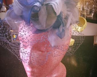 SALE Vintage 1940s Hat blue floral fascinator birdcage hat 40s