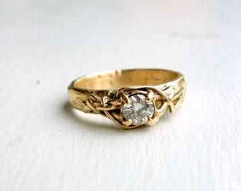 The Luna Diamond Ring- 14k yellow gold - natural - bramble ring- nest diamond ring - alternative engagement ring