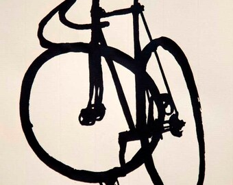 Classic Track  Bike- Fixie- Mock Brush Ink Drawing on Cream Colored paper - Bicycle Art Print- Bike Wall Art - Bicycle Painting - Cycling