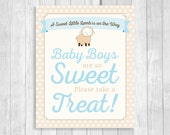 Printable Sweet Little Lamb Baby Boys Are So Sweet Please Take a Treat 8x10 Blue Baby Shower Candy Buffet Sign - Beige & White Polka Dots