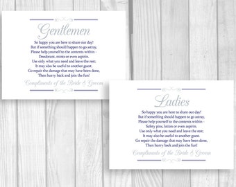 Printable 5x7 Navy Blue and Silver Wedding Reception Womens and Mens Restroom Signs - Bathroom Basket Signs - Instant Download
