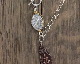 SALE--Repurposed vintage buddha pendant sterling silver chain and druzy connector one of a kind necklace