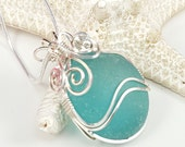Aqua Blue Sea Glass Pendant Necklace Aqua Sea Glass Jewelry N-370