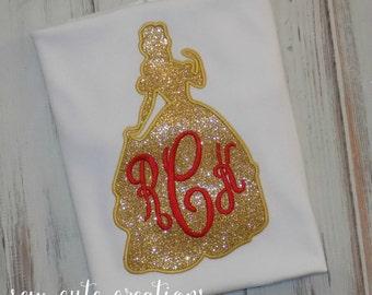 Belle shirt, Girl Princess shirt, Belle Monogram shirt, Belle silhouette shirt, Belle Birthday shirt, Belle outfit,  sew cute creations