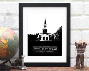 Graduation Gift, Gift for Grad, Graduate Class of 2017, University or College Graduation Art, School Colors, Alumni Gift- 8x10 Art Print