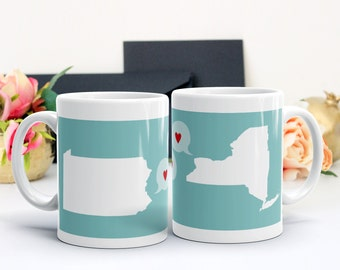Long Distance Love Mug, Personalized Grandparent Gift, Best Friend Gift, Miss You Moving Gift Personalized Mug, Two States