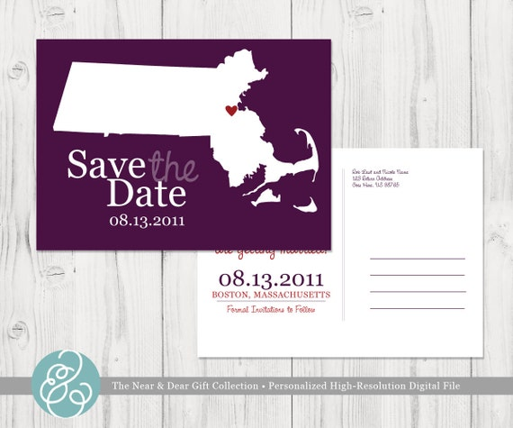 Save the Date : Custom Wedding Location and State Map Postcards - Any State or Country Available