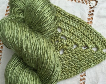 Silk Yarn Hand Dyed Worsted weight - Olive Green