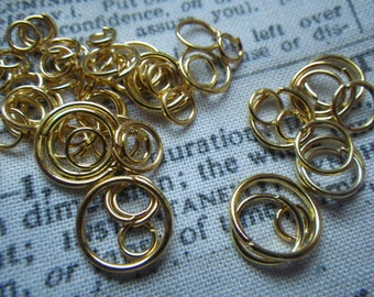 Bright Gold Plated Jump Ring Mix 4-10mm 1 ounce about 200 pieces