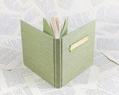 Hardcover Linen Notebook in Pale Light Green with Vintage Brass Label
