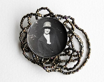 Beaded Mixed Media Brooch - Vintage Photo in a Vintage Tin