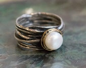 RESERVED to Angela - With Druzy - Engagement Pearl Ring, Silver Rose Gold Ring, June Birth Stone band - Imagine life in peace R1504BG1
