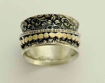 Filigree band, Silver Gold Band, spinner ring, wide wedding band, unisex band, meditation ring, Boho chic jewelry - A way of life 4, R1209B