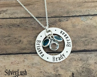 Mom's Hand Stamped Sterling Silver Jewelry - Personalized Necklace with Three Names