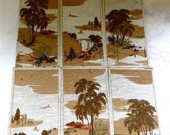 Print on Silk Panels -  Set of 6 - Vintage Asian Scene Vintage 60s  Decor