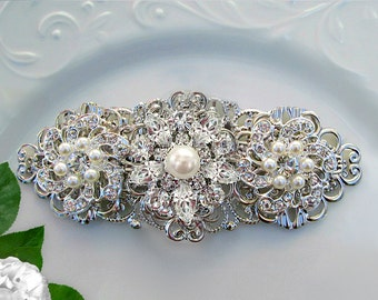Wedding Hair Clip Bridal Hair Piece Pearl and Crystal  Comb Pearl hair Barrette Bridal hair accessory