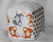 New!  Small Orange and Gray Foxes and Chenille Fabric Block Rattle