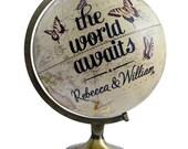 Custom World Awaits, Butterfly Pushpin Globe