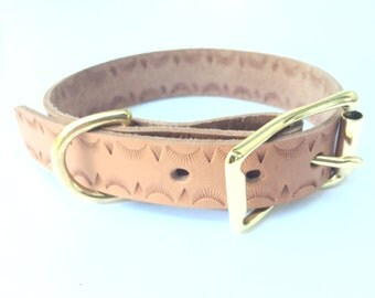 Rising Sun Hand Stamped Leather Dog Collar